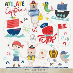 INSTANT DOWNLOAD  Aye Aye Captain Cliparts by 7thavenuedesigns