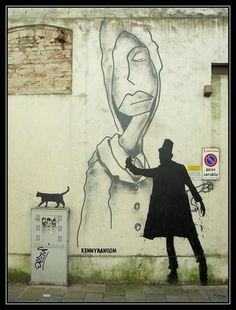 Street art black cat and painter by urban artist KR Kenny Random in Padua PADOVA - via S. Pietro Italy