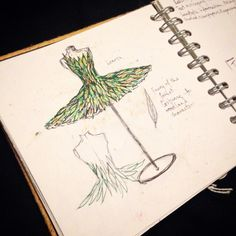 Sketchbook work - initial concept idea for a natural dress made of leaves as part of a university assessment. Assessment, Dress Making, Lush, Initials, University, Leaves, Concept, Natural, Gifts