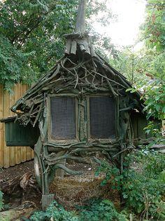 driftwood rabbit hutch