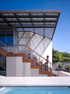 The Yin-Yang House is a net-zero energy single-family home in a quiet Venice, CA neighborhood.  The design objective was to create a space for a large and growing family with several children, which would create a calm, relaxed and organized environment that emphasizes public family space.   The home also serves as a place to entertain, and a welcoming space for teenagers as they seek social space with friends.   The home is organized around a series of courtyards and other outdoor spaces…