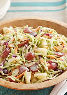 Broccoli Slaw with Poppyseed Dressing and Fruit – There's broccoli slaw, and then there's THIS broccoli slaw—tossed with red grapes, sliced almonds, sweet bits of pineapple, and creamy dressing.