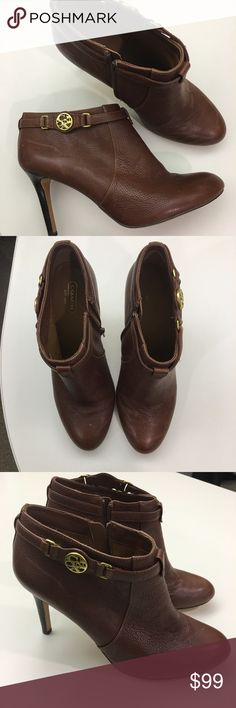 """COACH booties Brown leather coach booties with gold zipper and """"Coach"""" emblem. Only worn once! Coach Shoes Ankle Boots & Booties"""