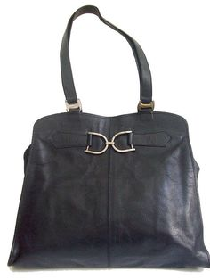 70s EQUESTRIAN BAG style / black leather 2 D rings by lesclodettes, $62.00