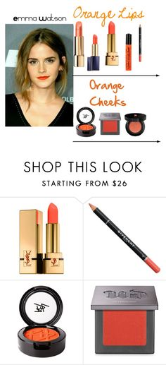 """""""Go Orange!"""" by im-karla-with-a-k ❤ liked on Polyvore featuring beauty, Yves Saint Laurent, Givenchy, Beauty Is Life, Urban Decay and Lancôme"""