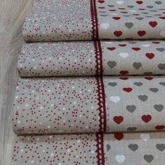 Úžitkový textil - Režné Vianoce malé srdiečka s bodkami - stredový obrus 140x40 - 7327042_