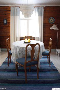 ruokailutila,ruokapöytä,keittiö,mökki,raidallinen,räsymatto,ruokailuryhmä,sininen,puu,ruskea,20-luku,maalaisromanttinen belső, konyhai függöny, vikendházak, második otthon