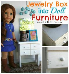 Refinish a Jewelry Box for Doll Furniture - perfect - have a wood jewelry box you don't use make doll furniture my dolls need a desk Diy Doll Dresser, Muebles American Girl, Diy Doll Closet, American Girl House, American Girls, Girls Dollhouse, Dollhouse Ideas, American Girl Furniture, Girls Jewelry Box