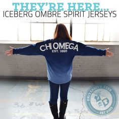 Iceberg Ombre Spirit Jerseys. So much love #chio #chiomega #sorority | Made by University Tees | www.universitytees.com