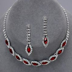 Chunky Statement Clear Rhodium Red Rhinestone Earring & Necklace Set 50% OFF In February!