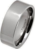8mm Polished Flat Titanium Wedding Ring