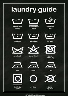 Laundry guide printable. Decorate your utility or laundry room with this cute chalkboard art (and decipher those confusing care labels with ease)!