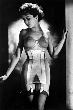 The revolution of shapewear and corsets created these beauties . Modeled in France (1947). Corsets were the essential to creating the perfect silhouette under any outfit in the 1940s and 1950s.
