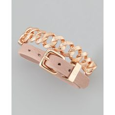 MARC by Marc Jacobs Chain & Leather Wrap Bracelet, Nude/Rose Golden ($99) found on Polyvore