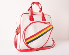 Vintage Large Rainbow Stripe Tennis Sports Bag w/Red Accents. $55.00, via Etsy.
