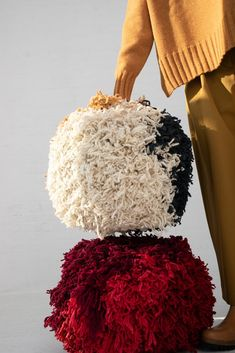Pompom in Natural, Charcoal, Ochre Natural Charcoal, Installation Art, Hand Weaving, Artisan, Wool, Nature, Handmade, March, Design