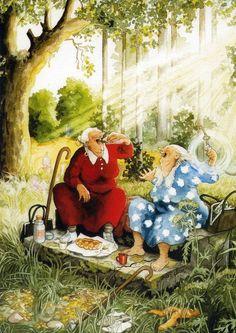 artist Inge Löök - enjoying the picnic