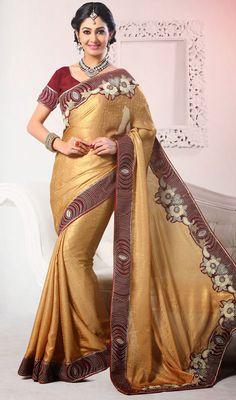 Gold Printed Shimmer Georgette Saree Price: Usa Dollar $145, British UK Pound £86, Euro107, Canada CA$158 , Indian Rs7830