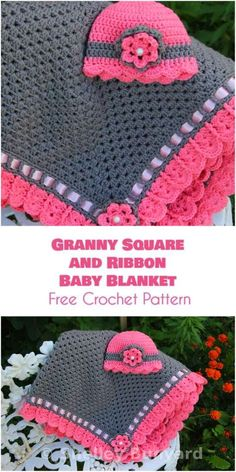 Granny Square and Ribbon Baby Blanket [Free Crochet Pattern]