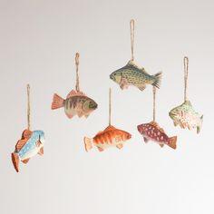 Wooden Fish Ornaments, Set of 6   World Market