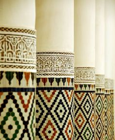 Mosaic tile columns in Morocco