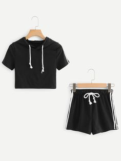 Striped Tape Side Hoodie Tee With ShortsFor Women-romwe Lazy Day Outfits, Cute Comfy Outfits, Kids Outfits Girls, Sporty Outfits, Teenager Outfits, Cute Outfits For Kids, Cool Outfits, Summer Outfits, Fashion Outfits