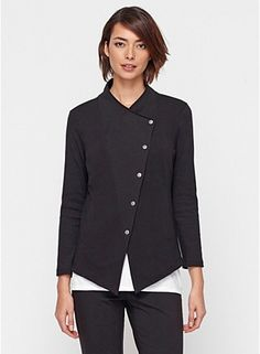 Eileen Fisher Funnel Neck Shaped Jacket in Organic Cotton Stretch Jersey