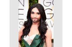 Going Green: Conchita Wurst Dazzles at Golden Globe Awards with Velvet Slit Dress via @williamleeadams