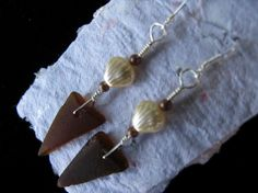 Brown Sea Glass Earrings with Shell Beads by MermaidTearsSeaglass, $18.00