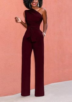 Red Pockets Asymmetric Shoulder Zipper Drawstring Waist Long Jumpsuit - Source by sarahsteffi - Red Jumpsuit, Jumpsuit Outfit, Summer Jumpsuit, Classy Outfits, Chic Outfits, Wedding Jumpsuit, Off Shoulder Jumpsuit, Long Jumpsuits, Womens Jumpsuits