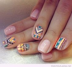 Nude and tribal nail design