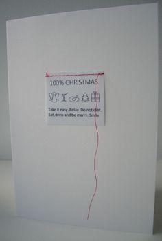 Kerstkaart van BINNEN. Geïnspireerd op een waslabel. Nu te koop met rode enveloppe. website -allesvanbinnen-