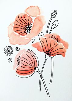 I think watercolor + ink is my favorite style! Watercolor Flowers Tutorial, Watercolor Poppies, Watercolor Sunflower, Watercolor Drawing, Watercolor And Ink, Watercolor Illustration, Watercolor Paintings, Watercolours, Line Art Flowers