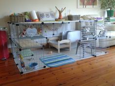 I like the idea of having a table top over the bunny pen so that we're getting more work space!
