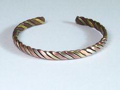 Tibetan Twisted Copper, Brass and Rose Copper Metal Cuff Bracelet