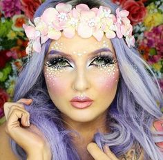 Fantasy makeup and purple lavender hair