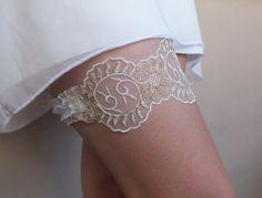 ivory gold lace garter, Wedding Garter, Handmade garters, XMAS gifts