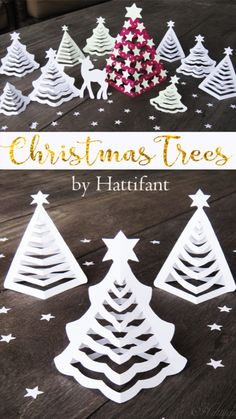 Christmas Paper Trees to DIY with FREE templates - Servietten Christmas Origami, Christmas Paper, Christmas Crafts For Kids, Diy Snowflake Decorations, Christmas Decorations, Christmas Ornaments, Christmas Wall Hangings, Xmax, Christmas Activities For Kids