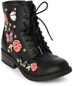 cf0c3f57e23 Steve Madden Kids Girls) Black JRoaring Embroidered Combat Boots Steve  Madden Kids