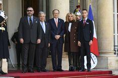 Le roi Mohammed VI du Maroc, Antonio Guterres, Jim Yong Kim, Brigitte Macron (Trogneux) et le prince