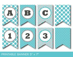 Turquoise and grey banner, Party banner, Birthday banner, Baby shower banner, Printable banner, Banner letters, Polka dot banner, PB-580