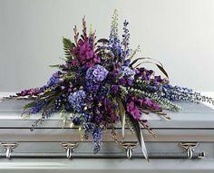 Mixed casket spray of mixed purple flowers from Bunn Flowers & Gifts, local florist in Pittsburg, TX Casket Flowers, Grave Flowers, Cemetery Flowers, Church Flowers, Funeral Flowers, Arrangements Funéraires, Funeral Floral Arrangements, Beautiful Flower Arrangements, Ikebana
