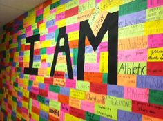'I AM' wall! Awesome classroom idea to start the school year with bold intention… 'I AM' wall! Awesome classroom idea to start the school year with bold intentions! Beginning Of The School Year, First Day Of School, Back To School Ideas For Teachers, New School Year, Back To School Bulletin Boards, Classroom Decorations Middle School, Bulletin Board Ideas For Teachers, Classroom Displays Secondary, Unique Bulletin Board Ideas