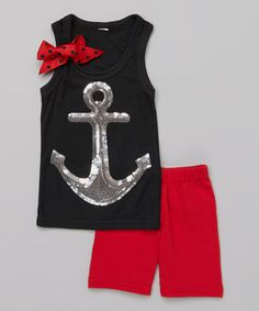 Black Anchor Tank  Red Shorts - Infant, Toddler  Girls by So Girly  Twirly #zulily #zulilyfinds