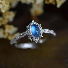 Elegant Vintage Antique Art Deco Blue Moonstone Silver Engagement Ring Promise Ring - Gift for women and girls, wedding Antique Jewelry, Silver Jewelry, Vintage Jewelry, Fine Jewelry, Antique Art, Vintage Art, Silver Earrings, Gothic Jewelry, Glass Jewelry