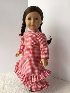 1880s Mary and Laura Prairie Dress in Red for 18 inch by kgabor19