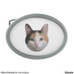Calico Portrait Oval Belt Buckle