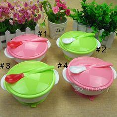$4.93 1 Set Creative Anti-slip Baby Feeding Bowl with Sucker and Temperature Sensing spoon - BornPrettyStore.com
