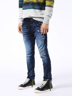 Diesel Krooley Cb Joggjeans Carrot In Blue Jeans Blue Denim, Blue Jeans, Men's Jeans, Jogg Jeans, Diesel Jeans, New Details, Vintage Looks, Fitness Models, Black And Grey