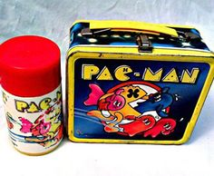 Someone once took my Pac-Man lunch box from me and beat me with it. Lunch Box Thermos, Vintage Lunch Boxes, Cool Lunch Boxes, Metal Lunch Box, Vintage Tins, Sweet Memories, Childhood Memories, Apple Iphone, School Lunch Box